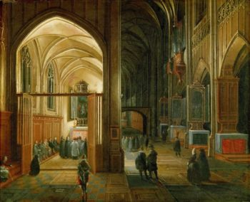Evening Mass in a Gothic Church | Hendrick van Steenwijck the younger | oil painting