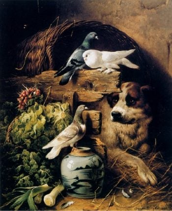 Stable Interior with Dog   Henriette Ronner Knip   oil painting