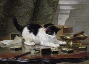Katjesspel | Henriette Ronner Knip | oil painting
