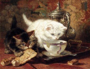High Tea   Henriette Ronner Knip   oil painting