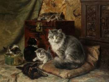A cat and her kittens at play   Henriette Ronner Knip   oil painting