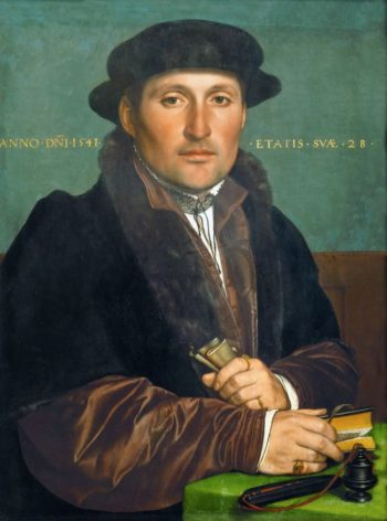 Unknown Young Man at his Office Desk   Hans Holbein the Younger   oil painting