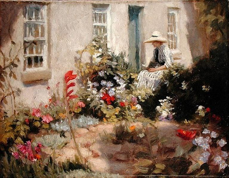 Woman reading in a garden | Harold Harvey | oil painting