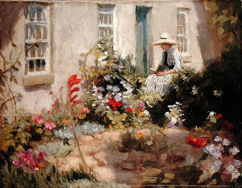 Woman reading in a garden   Harold Harvey   oil painting