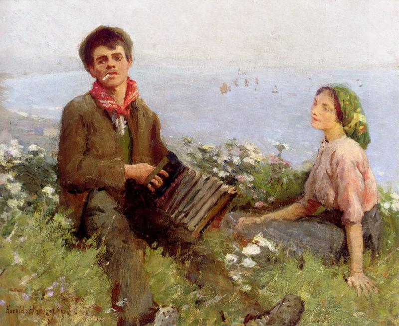 Wayside Minstrels | Harold Harvey | oil painting