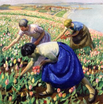 Tulip Pickers | Harold Harvey | oil painting