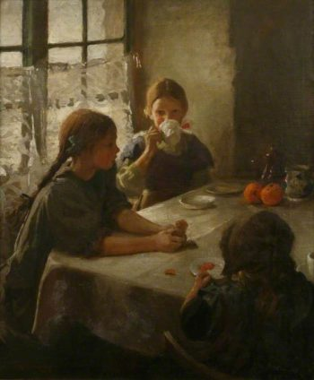 The Tea Party | Harold Harvey | oil painting