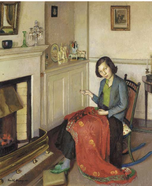 The red silk shawl | Harold Harvey | oil painting