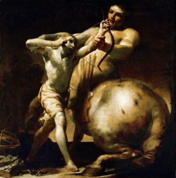 Centaur Chiron Teaches Young Achilles Archery | Giuseppe Maria Crespi | oil painting