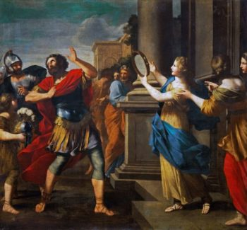 Jephthah learns his daughter | Giovanni Francesco Romanelli | oil painting