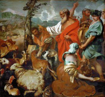 Noah with animals | Giovanni Benedetto Castiglione | oil painting
