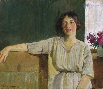 The Artist's Model   Harold Harvey   oil painting
