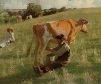 Summer Milking | Harold Harvey | oil painting
