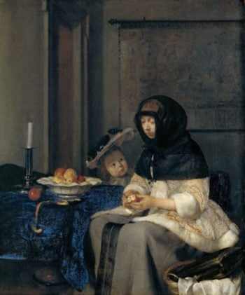 The Apple Peeler | Gerard Terborch II | oil painting