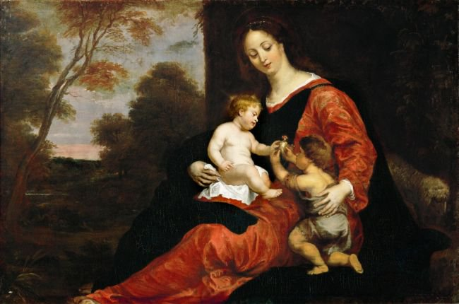 Virgin and Child with Saint John and a Goldfinch | Gerard Seghers | oil painting