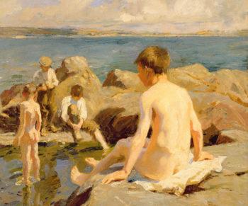 On The Rocks Near Newlyn | Harold Harvey | oil painting