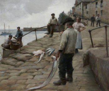 Newlyn Harbour | Harold Harvey | oil painting