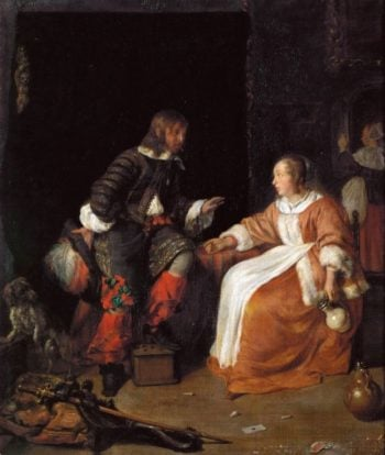Lady and Officer   Gabriel Metsu   oil painting