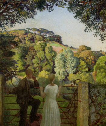 Midge Bruford and Her Fiance at Chywoone Hill Newlyn | Harold Harvey | oil painting