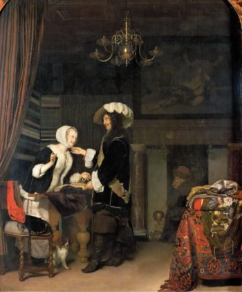 Cavalier in a draper shop | Frans van Mieris | oil painting