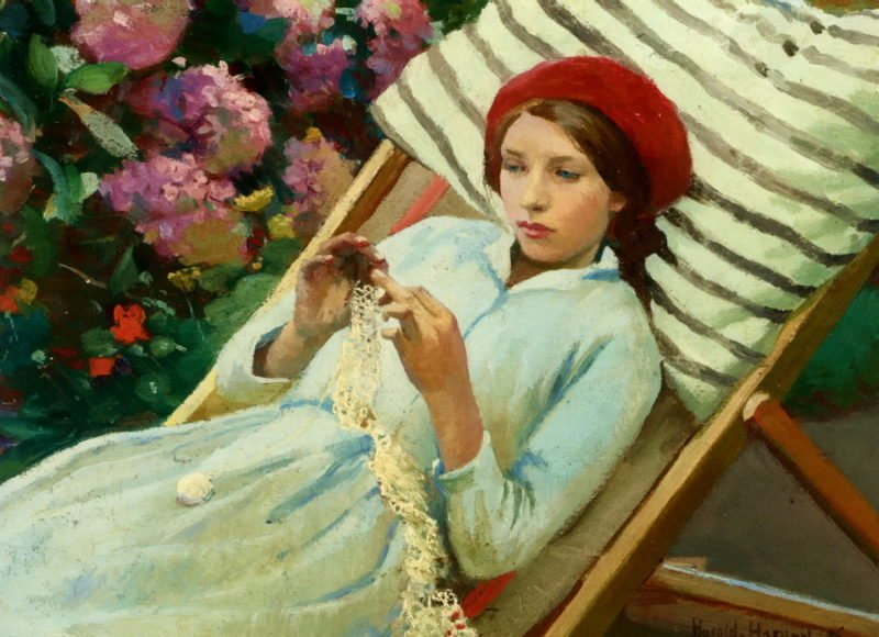 Girl with a Red Hat | Harold Harvey | oil painting