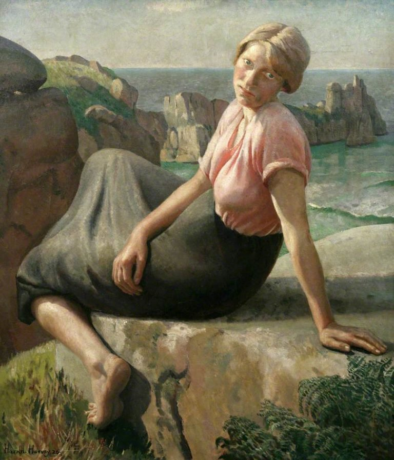 Girl on a Cliff | Harold Harvey | oil painting