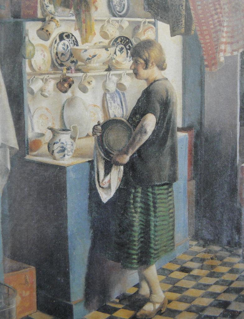 Gertrude in the Kitchen | Harold Harvey | oil painting