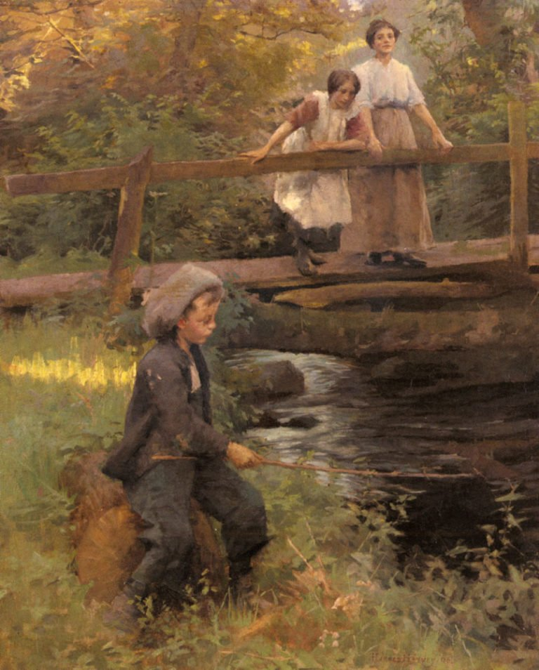 Fishing By A Forest Stream | Harold Harvey | oil painting