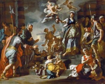 Judith shows the head of Holofernes to the people | Francesco Solimena | oil painting