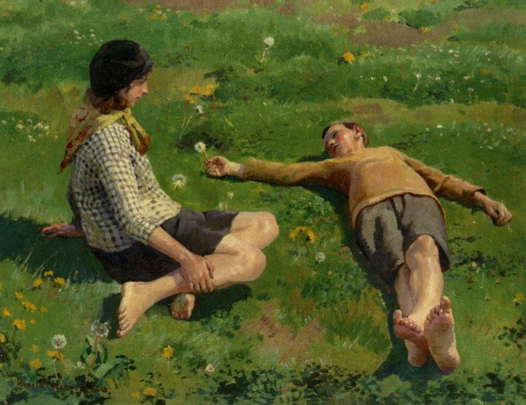 Cornish Children | Harold Harvey | oil painting