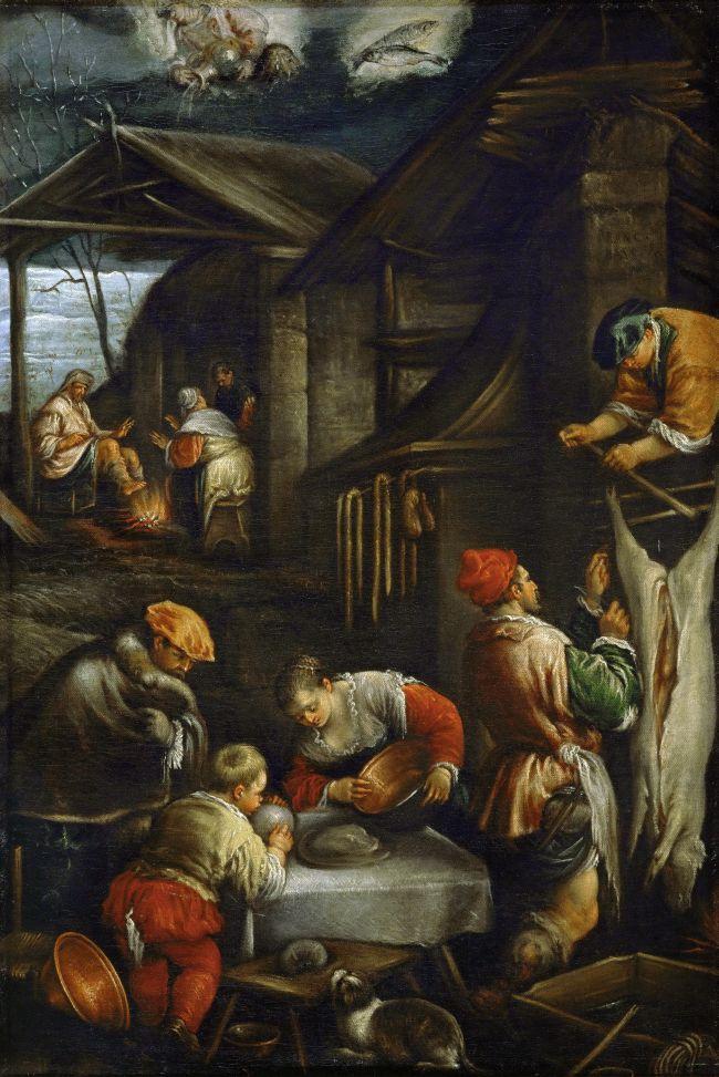Winter  Slaughtering Pigs | Francesco Bassano II | oil painting