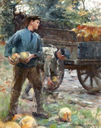 Boys Loading Mangolds onto a Cart | Harold Harvey | oil painting