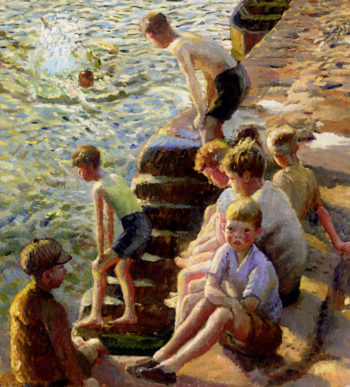 Boys Bathing | Harold Harvey | oil painting