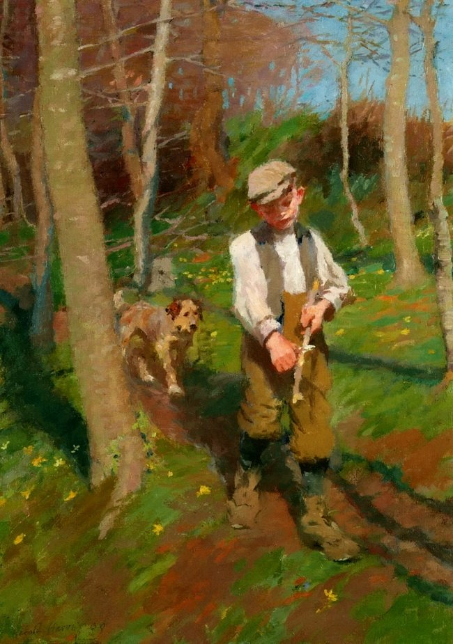 Boy Whittling a Stick | Harold Harvey | oil painting