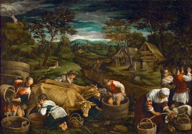 Autumn -Moses Receiving the Tablets of the Law   Francesco Bassano II   oil painting