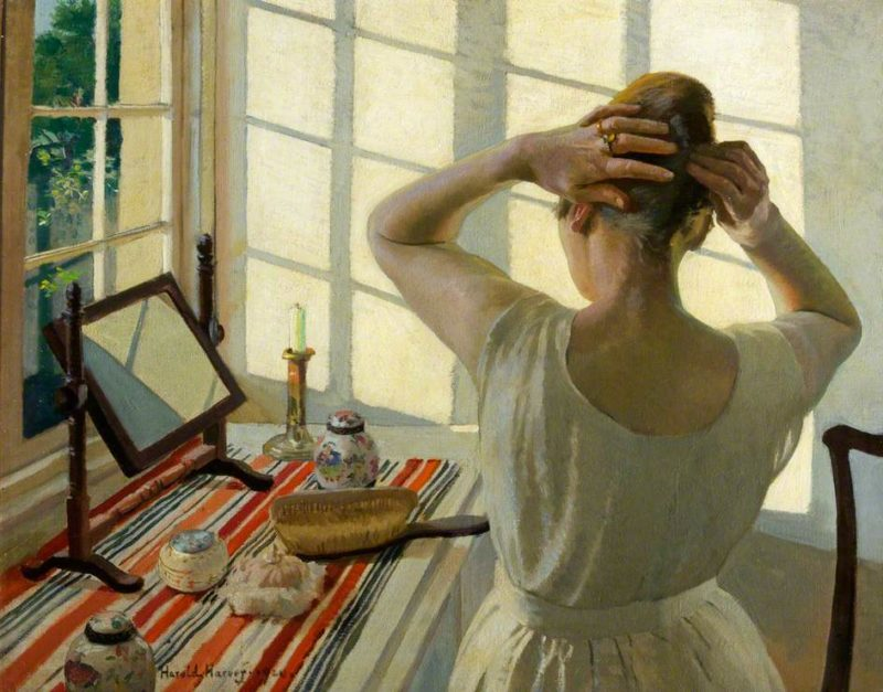 At the Dressing Table | Harold Harvey | oil painting