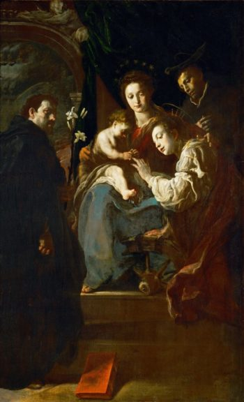 The Mystic Marriage of Saint Catherine of Alexandria and Saints Dominic and Peter | Domenico Fetti | oil painting