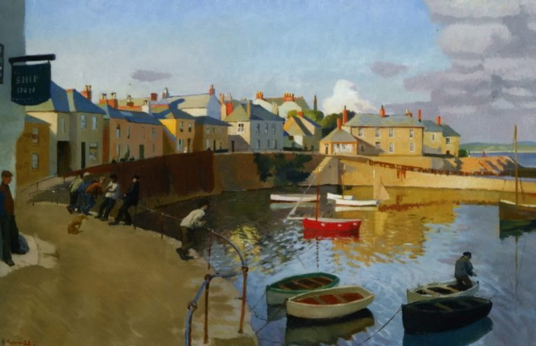 A View of Mousehole | Harold Harvey | oil painting
