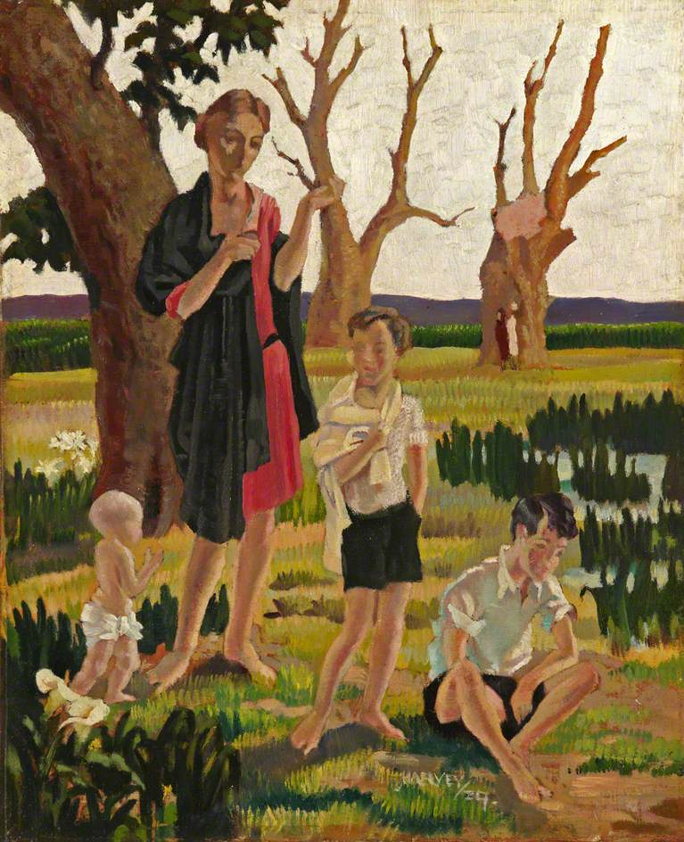 A Mother and Three Children in a Landscape | Harold Harvey | oil painting