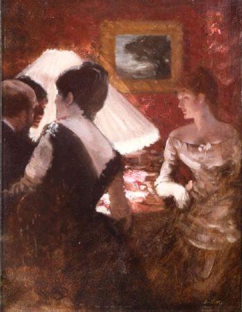 n the Lamplight | Giuseppe de Nittis | oil painting