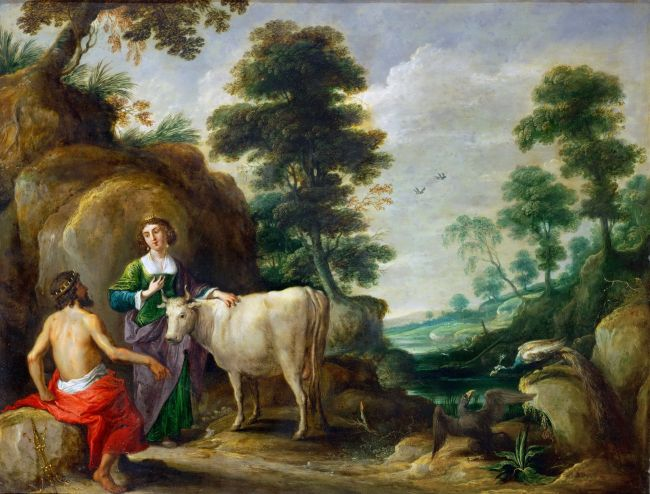 Io transformed into a cow is handed to Juno by Jupiter | David Teniers I | oil painting
