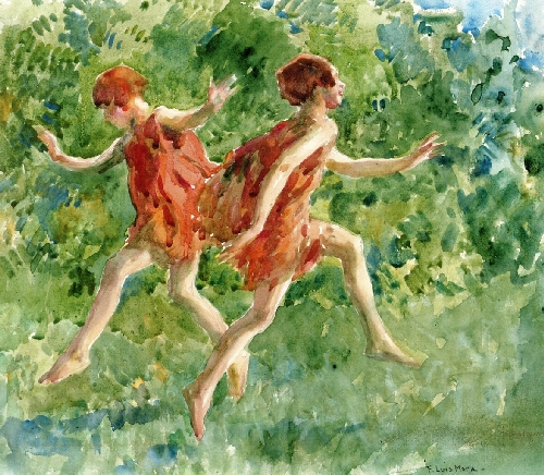 Girls Dancing in a Landscape | Francis Luis Mora | oil painting
