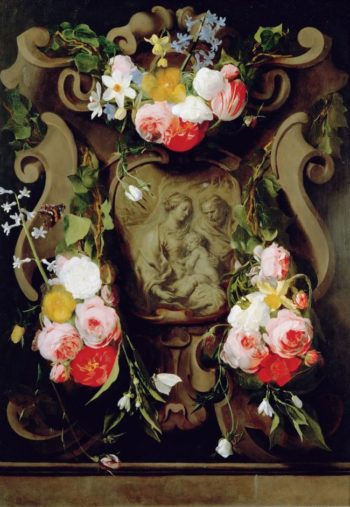 Holy Family Surrounded with Flowers | Daniel Seghers and Jan Boeckhorst | oil painting