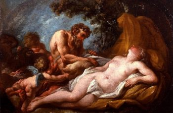 Jupiter and Antiope   Charles Michel Ange Challe   oil painting