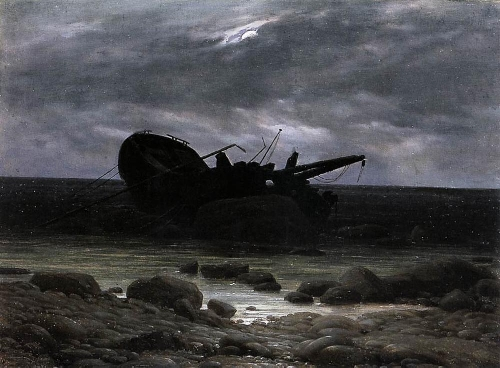 Wreck in the Moonlight (1835) | Caspar David Friedrich | oil painting