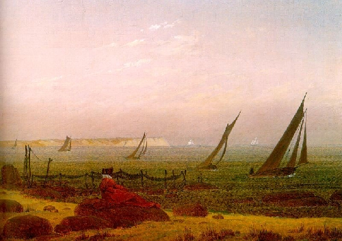 Woman at the sea on Rugen (1818)   Caspar David Friedrich   oil painting