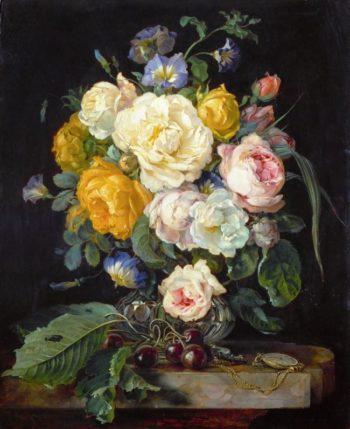 Still Life with Peonies Cherries and Watch | Cornelis de Heem | oil painting