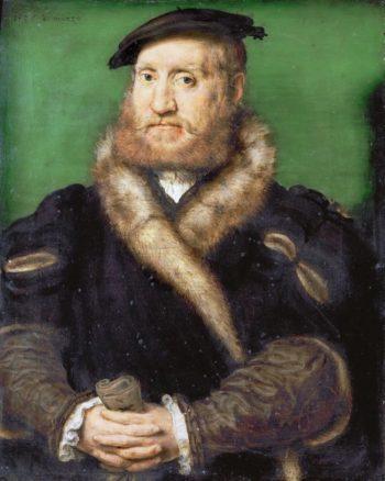 Portrait of a Bearded Man with a Fur Coat | Corneille de Lyon | oil painting