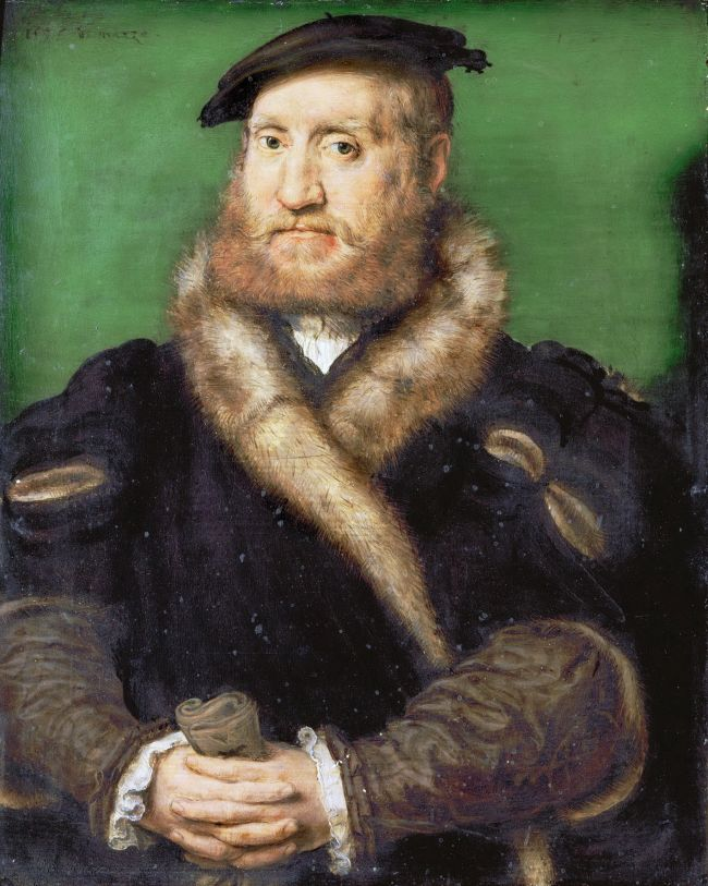 Portrait of a Bearded Man with a Fur Coat | Corneille de Lyon | oil painting