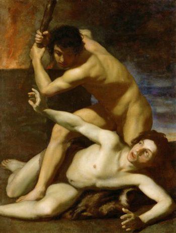 Cain killing his brother | Bartolomeo Manfredi | oil painting